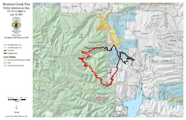 A map shows a fire occupying Bennion and Kelly Canyons, 41% of the perimeter is contained