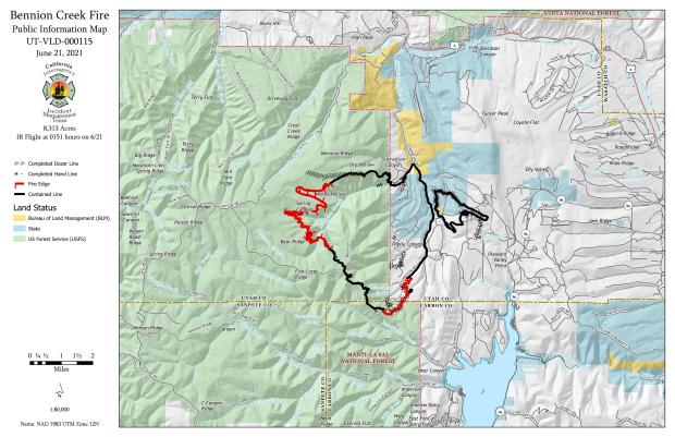 PIO Map depicts a fire in mountainous terrain. 64% of the fires edge is black. The black containment line is along the north/eastern and southern edges.
