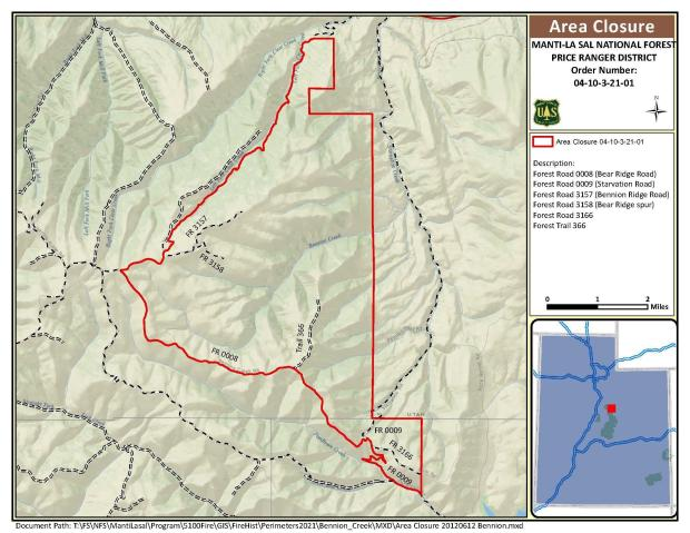 This map shows an outline of the closure area on the Manti-La Sal National Forest due to the Bennion Creek Fire.