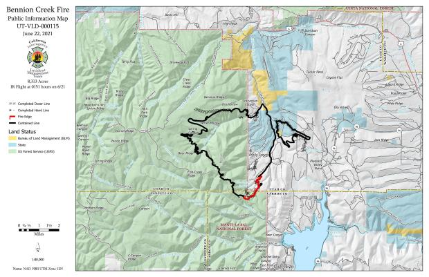 This map shows a fire outlined with 80% black containment line around it. The remaining red, uncontrolled line being at the south/eastern portion of the fires edge.