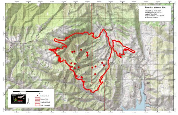 This map shows the isolated hot spots located within the Bennion Creek containment line. The hot spots were found by flying a plane over the fire utilizing infrared technology.