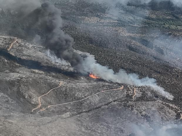 Aerial photo showing smoke and current fire activity on the Pack Creek Fire.
