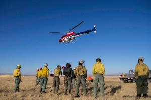 The La Grande Hotshots were shuttled by helicopter to work on the northeast  side of the Meadow Creek Fire.