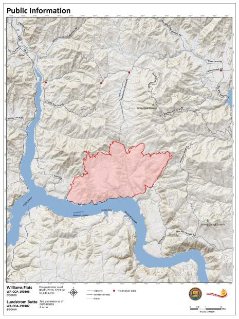 Map showing fire perimeter of 13,497 acres with 20% containment.