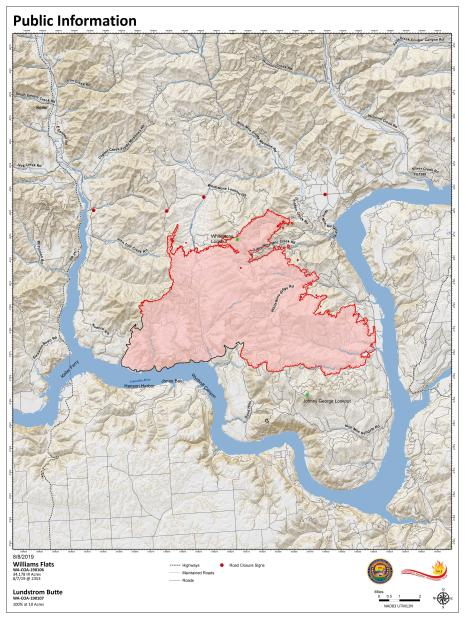 80802019 updated map showing fire perimeter. Estimated 34, 278 acres and 25% contained