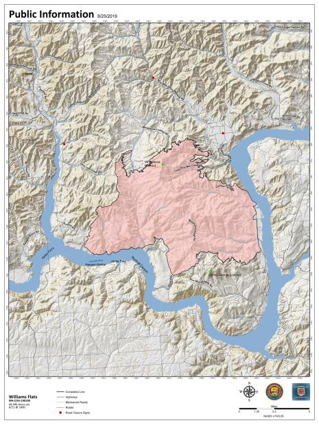 Williams Flats Fire PIO Map for August 25, 2019