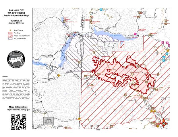Big Hollow Fire Map September 25