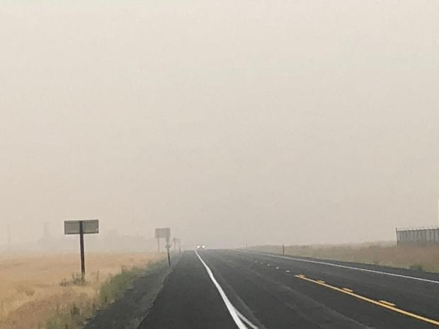 Dense smoke reduces visibility on Hwy 2 near the Whitney Fire