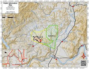 Map of the Sherwood Fire showing an 85% containment line and evacuation levels for August 1, 2021.