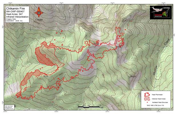 A map showing heat activity on the Chikamin Fire