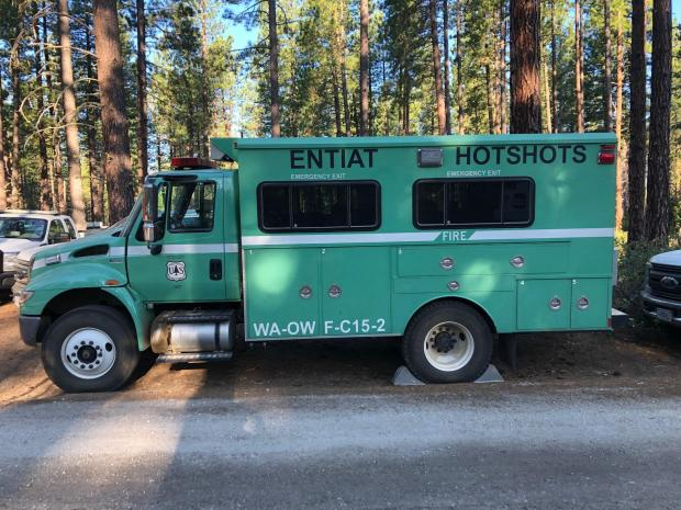 Entiat Hotshots, a local crew are assigned to the Chiiamin Fire. Local knowledge of the landscape is extremely beneficial to firefighting efforts.