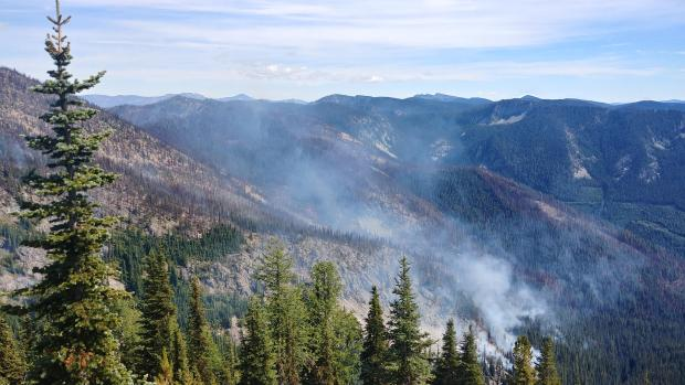 Minimal fire activity, with whispy smoke, visible on the Chikamin Fire as seen from Basalt Ridge on Sept. 1, 2020