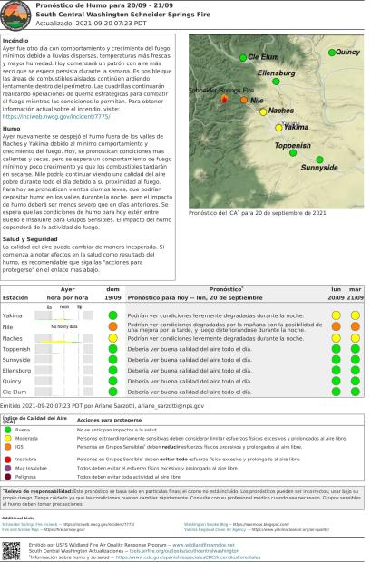 Spanish Central WA Smoke Outlook for Sept 20, 2021
