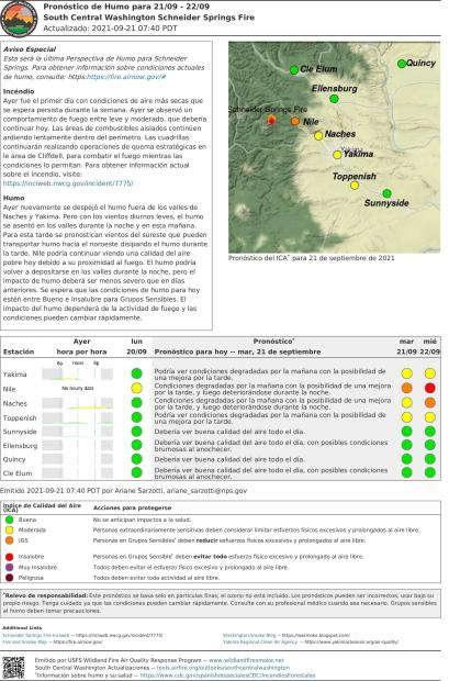 Spanish Central WA Smoke Outlook for Sept 21, 2021
