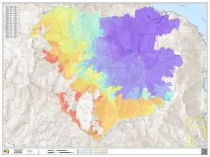 Map showing the progression of the Twentyfive Mile Fire using a color gradient to show growth each day. Charts show day to day acreage growth and the dates each color shade represents