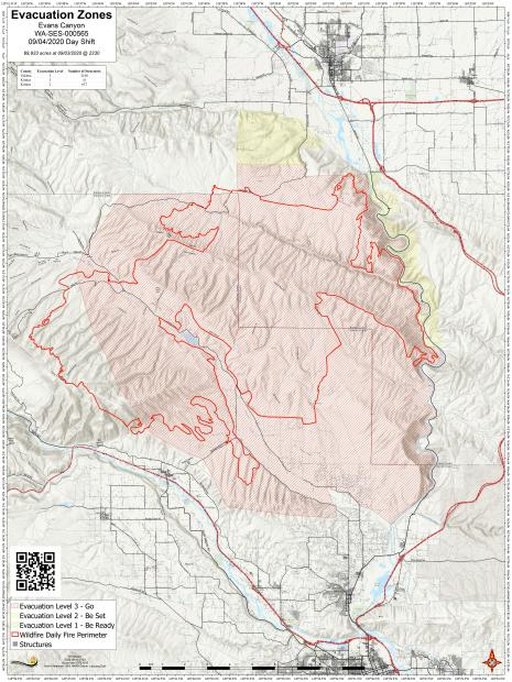 Evans Canyon Fire Evacuation Zone Map September 4