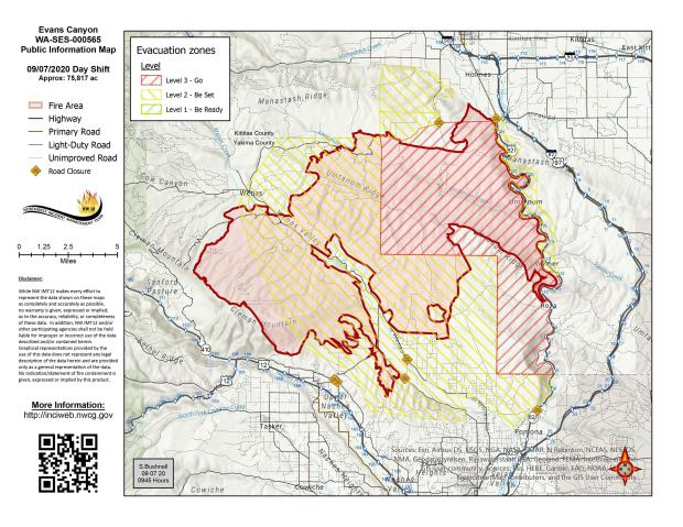 Evans Canyon Fire Map - Steptember 7