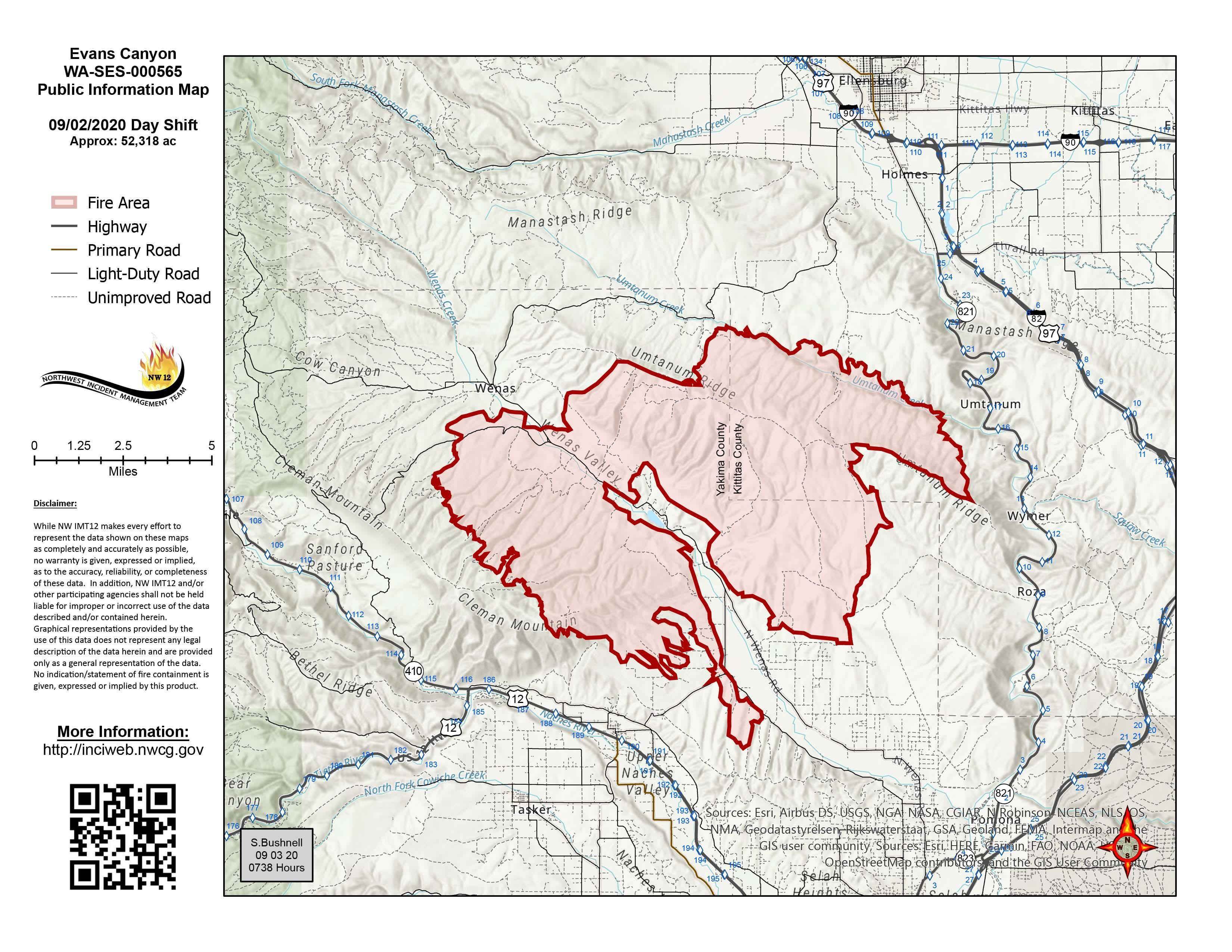 Evans Canyon Fire Map - September 3