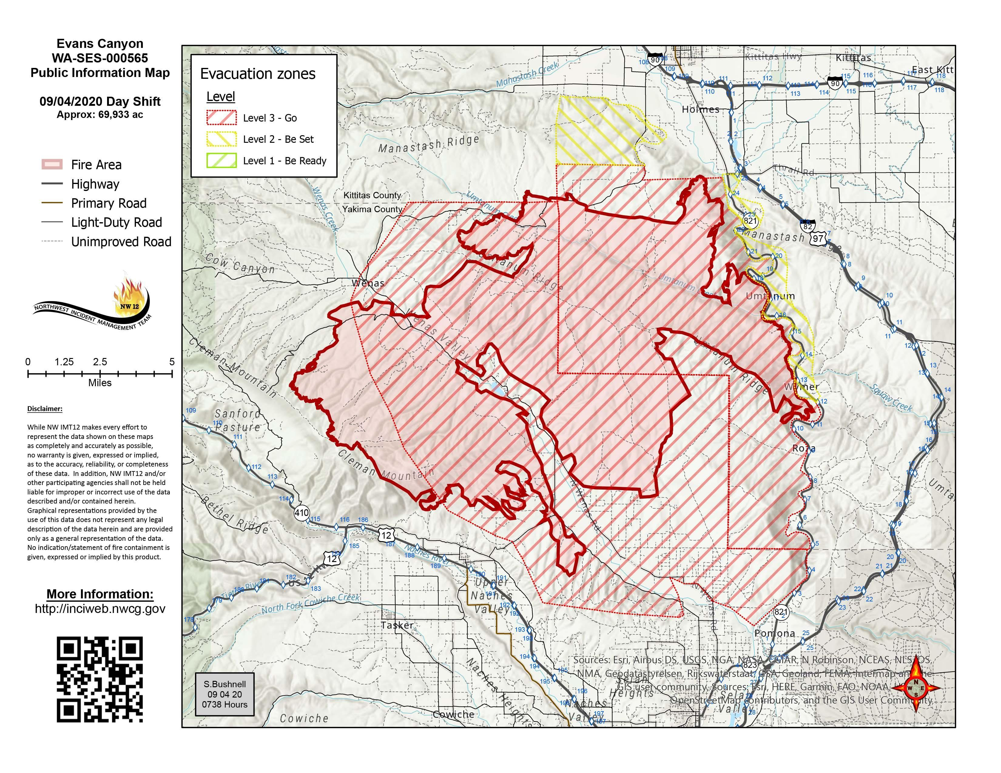 Evans Canyon Fire Map - September 4