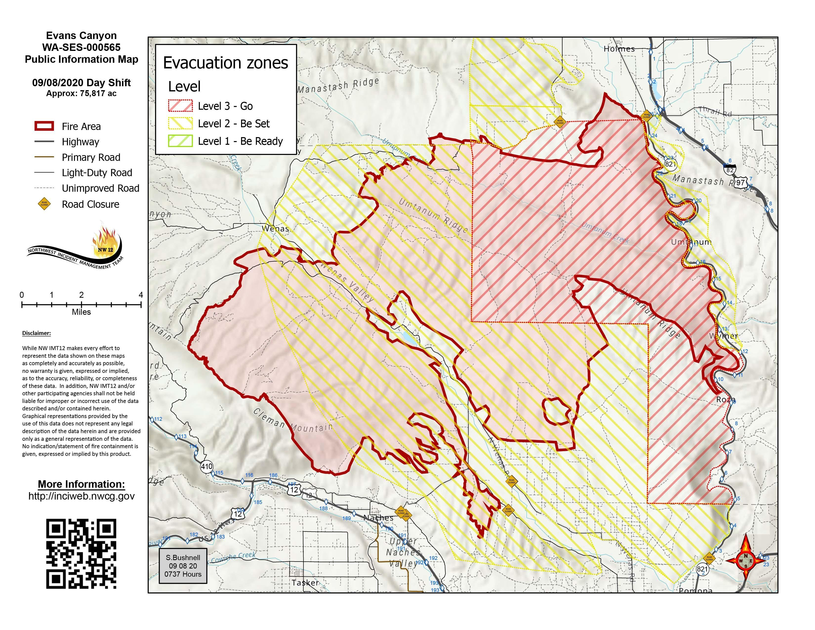 Evans Canyon Fire Map - September 8