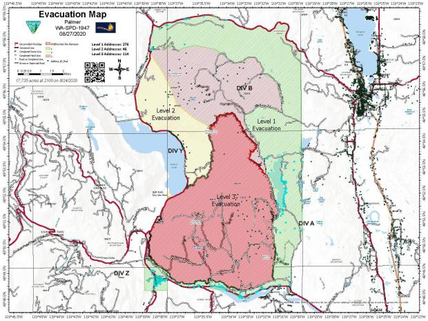Palmer Fire Evacuation Map from 8/27/2020 in JPEG format.