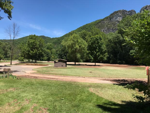 Mud covers the parking lot at Seneca Rocks Picnic Area after June 30 flooding.