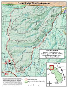 This is a map depicting the Crater Ridge Fire closure area.