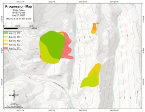 The progression map of the Shale Creek Fire as mapped by the GIS specialist from taking command to July 26.