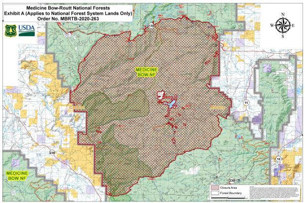 Mullen Fire - expanded closure map, 9pm 9/18/20