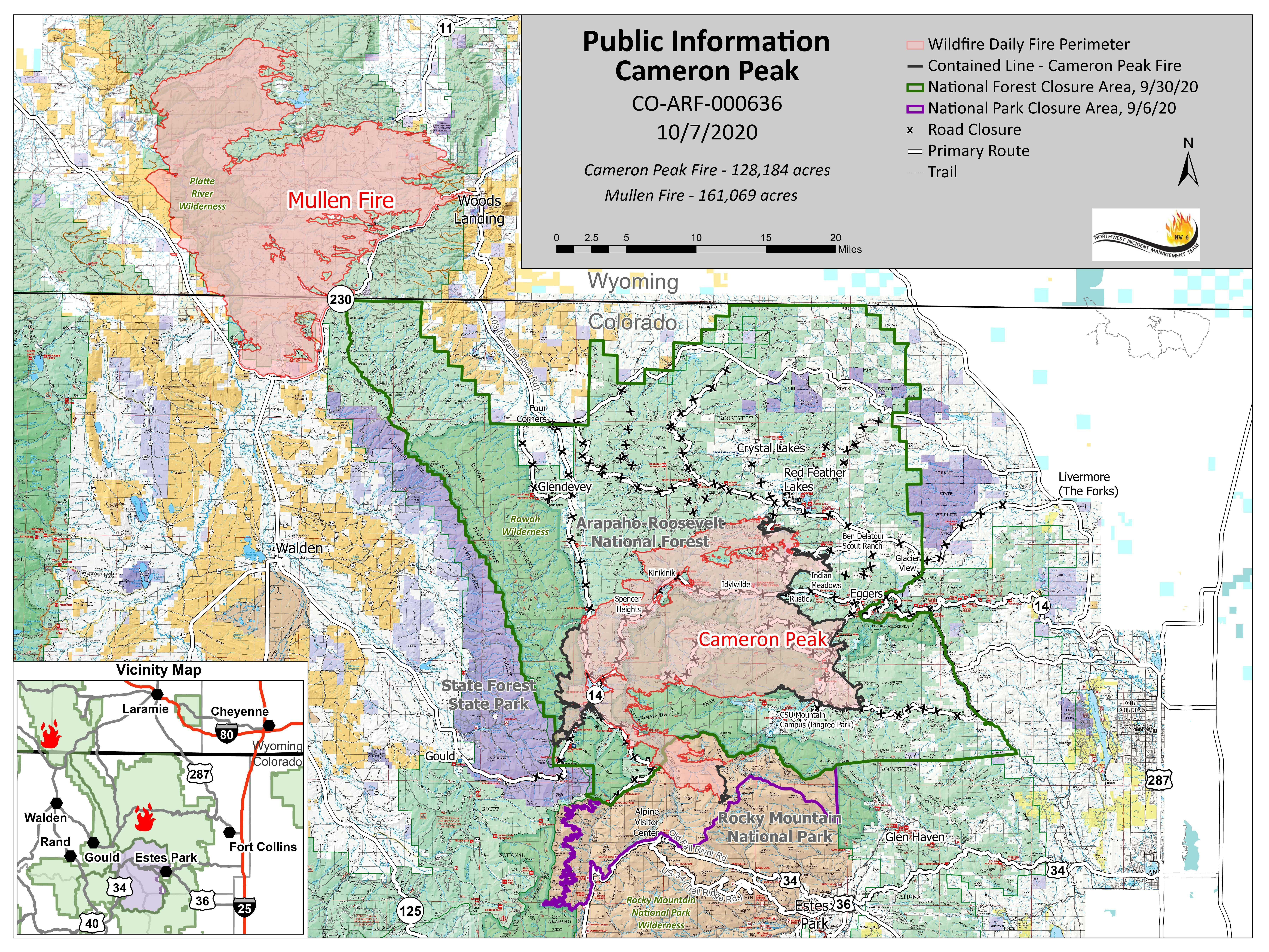 Mullen and Cameron Peak Fire Map 10-7-2020